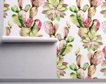 Cactus Removable Wallpaper - FREE SHIPPING - Watercolor Self Adhesive - Regular Cactus Wallpaper - Cactus Flower Wall Decor #24