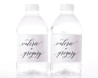 Calligraphy Wedding Water Bottle Labels - Waterproof Wedding Bottle Labels - Water Labels for Weddings - Water Bottle Wraps - #wdiW-240