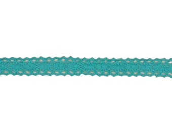 """Riley Blake 1/2"""" cotton crocheted lace teal - sku STCL- Teal - 1 yard"""