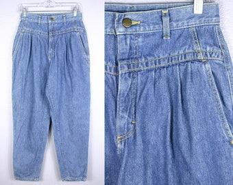 Vintage Jeans High Waist Jeans Soft GRUNGE Jeans 90s MOM Jeans NORMCORE Hip Hop Blue Denim 80s Jeans 90s Jeans Tapered Ankle 27 Waist