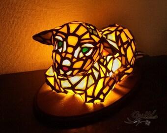 stainedglass sheep lamp