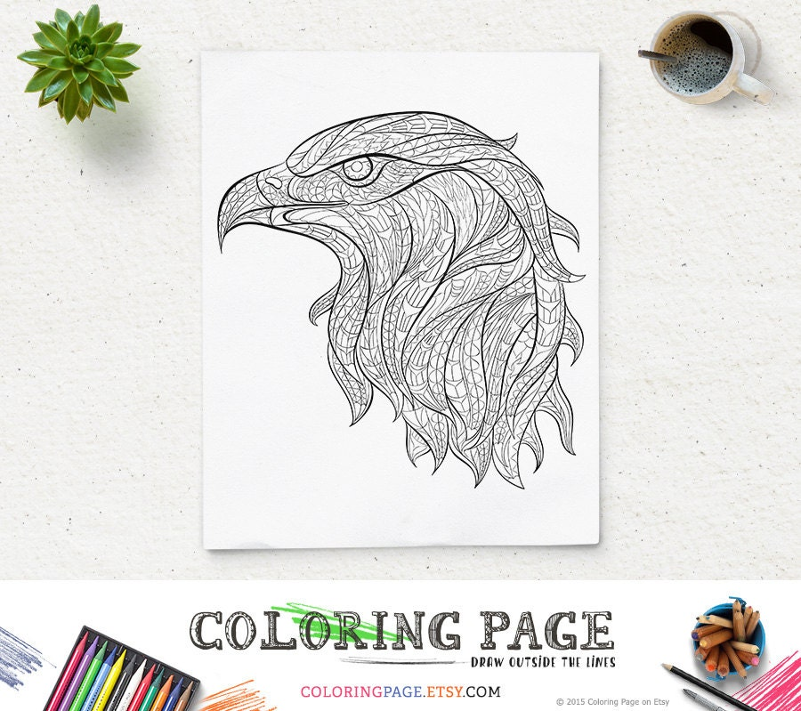 Printable Coloring Pages Eagle Head Animal Page Adult