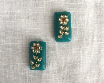 Indian Teal Kundan Glass Buttons Beads,Floral Beads Rajasthan Traditional Handmade Buttons,Sewing Jewellery Rectangle Beads,2X3.5cm,2 pcs