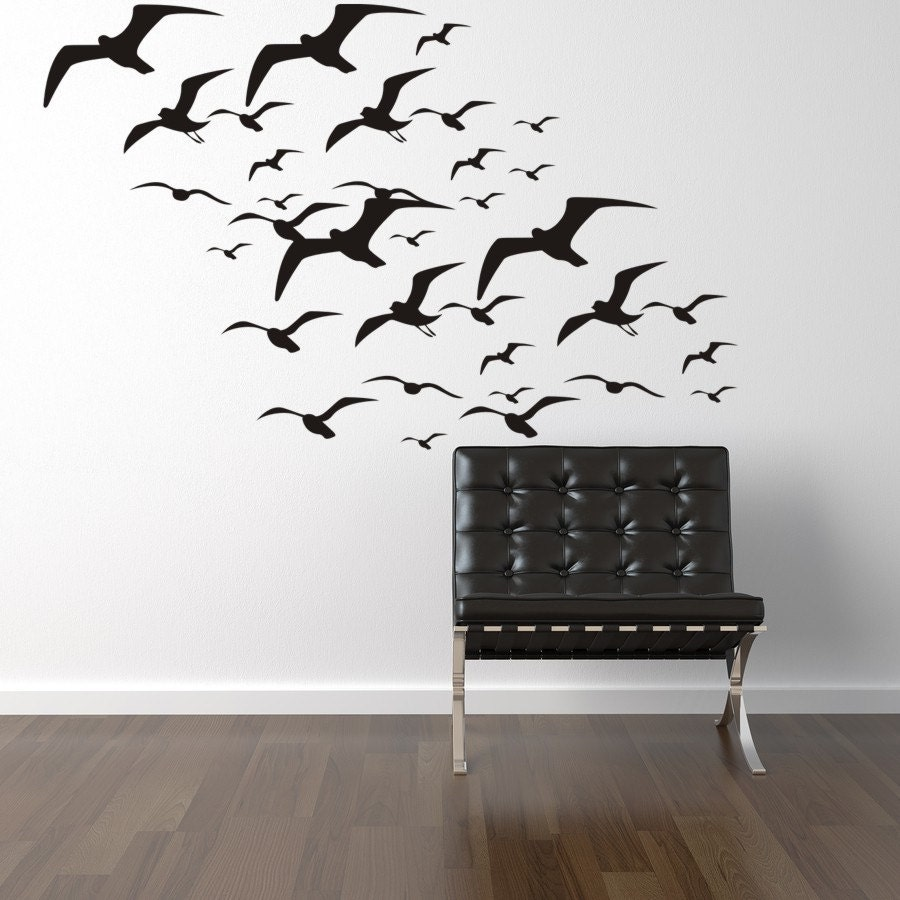 Flying Seagulls Wall Decal Bird Decals Seagulls Vinyl Wall Decal Birds Flying tropical beach stickers beach wall decals & Flying Seagulls Wall Decal Bird Decals Seagulls Vinyl Wall Decal ...