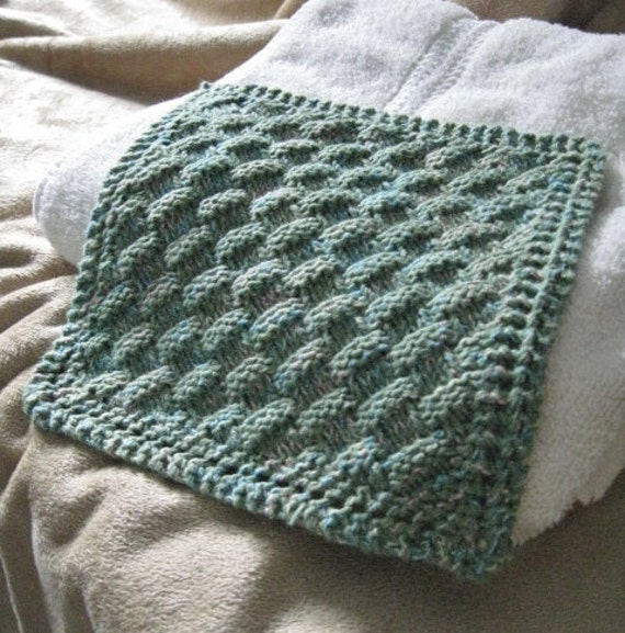 Knit Washcloth Pattern..Basket Weave on Diagonal with Eyelet
