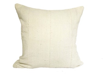"""Vintage African Solid White Mudcloth Pillow 18"""""""