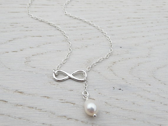 Silver Infinity Lariat Necklace & Pearl - Sterling Silver