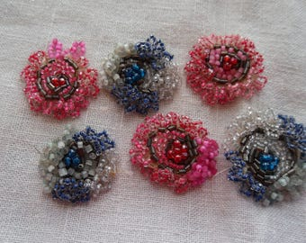 6 Hand Beaded Yoyo's Pink and Blue