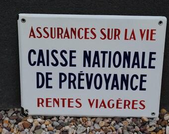 Pension national vintage enamel sign