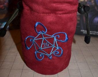 Dice Bag custom Embroidery Suede D20 Turtle
