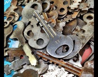 Flat SKELETON Padlock Key set of 6, Antique skeleton key, Vintage lock key, rusty old keys, assortment of key, variety key lot