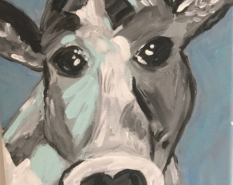 cute cow, gray cow, fun cow painting, acrylic cow painting, abstract cow painting, girly cow painting, 8x10 canvas