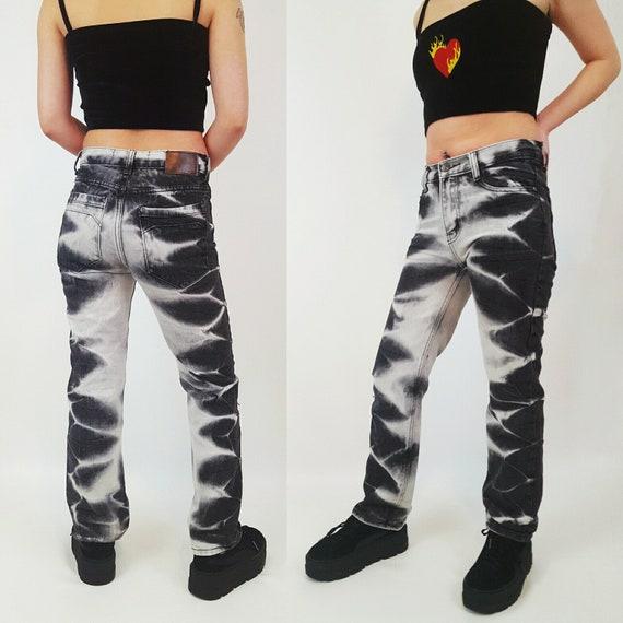 XXS Y2K Bleached Black 90's Jeans - Extra Small 00 TieDye Black Grunge Bootcut Jeans - Vintage Denim Zebra Stripe Jeans