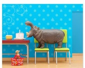 30% OFF SALE Hippo animal print: Hungry, Hungry Hippo