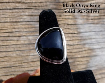 Asymmetrical Black Onyx Ring Size 7, Solid Sterling Silver