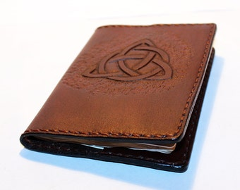 Leather Passport Cover With Triquetra! Leather Passport Holder! Leather Travel Passport Cover! Brown Handmade Passport Cover! SALE