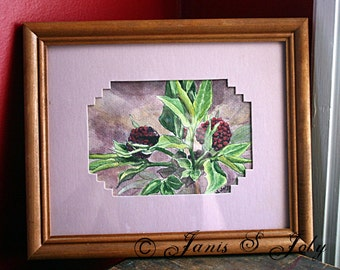 Trail Berries - Framed and Matted Signed Original Watercolor Painting