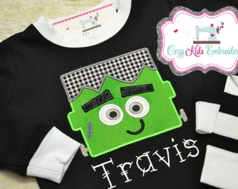 Halloween pajama fall boy girl kid child toddler infant baby custom personalized mongram embroidered applique name