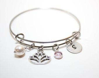 lotus bracelet, personalized lotus flower bracelet, lotus bangle, lotus initial bracelet, lotus charm bracelet, lotus flower gift, lotus