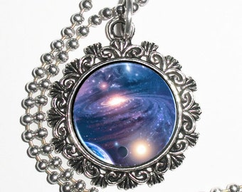 Planets, Stars & Galaxy Space Art Pendant, Universe Resin Charm Necklace