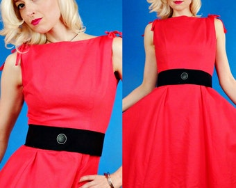 Cherry Bomb Vintage 50s 60s Red Cotton Party Summer Nights Dress S