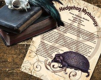 HEDGEHOG MYTHOLOGY, Digital Download,  Book of Shadows Page, Grimoire, Scrapbook, Spells, Wiccan, Witchcraft,
