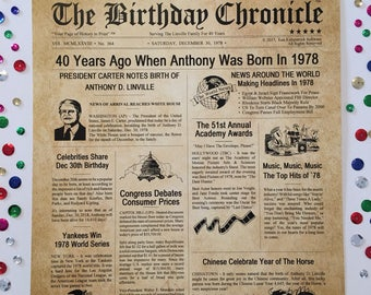 40th Birthday Gifts, Personalized, Headline News Print, Time Capsule, Newsletter Style, 1978 Birthday Gift, Chronicle, 40th Milestone Gifts