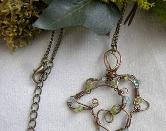 Peridot, apatite, wire wrap copper Ivy leaf necklace ~ Poison Ivy
