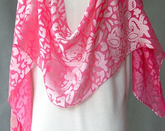 "Hand Painted Silk Scarf  ""Bright Pink"" soft silk scarf devore satin perfect for holiday parties satin on chiffon duppata chunni headscarf"