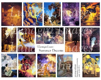 SUMMER DREAMS digital collage sheet Victorian vintage fairytale paintings Parrish magical fantasy myth altered art nouveau ephemera DOWNLOAD