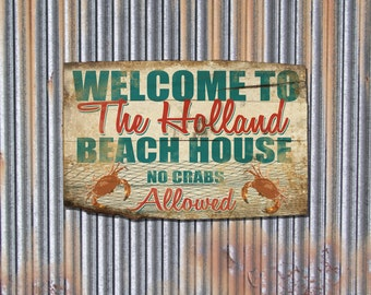 Custom Personalized Beach House Sign, Rustic Barn Wood