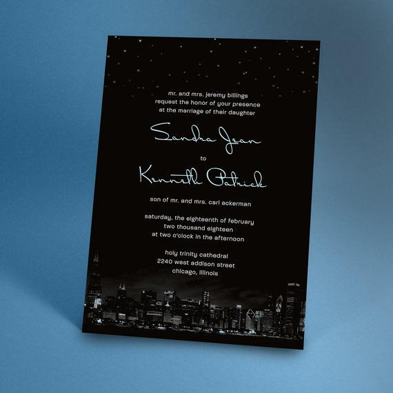 Chicago city skyline wedding invitations with night stars stopboris Gallery