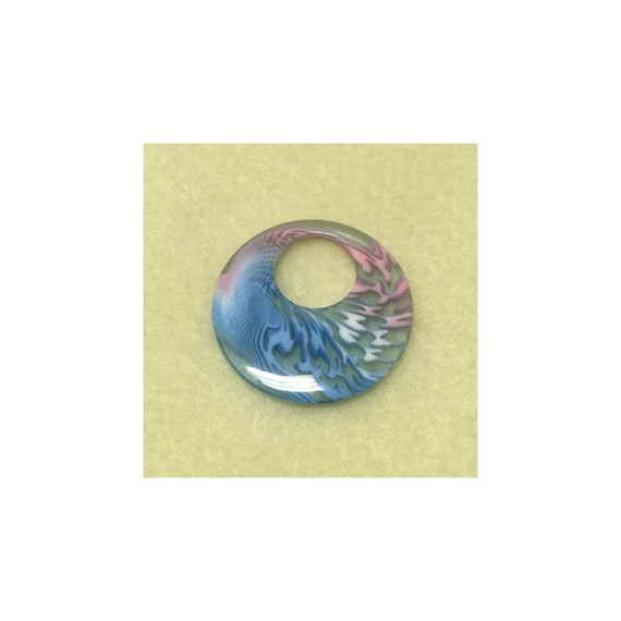 Acrylic Pink White Blue Clear Swirl Pendant 40 mm Round 15mm Hole