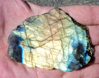 LABRADORITE gemstone rough sawn Board 85 g, mineral collection or Crystal healing