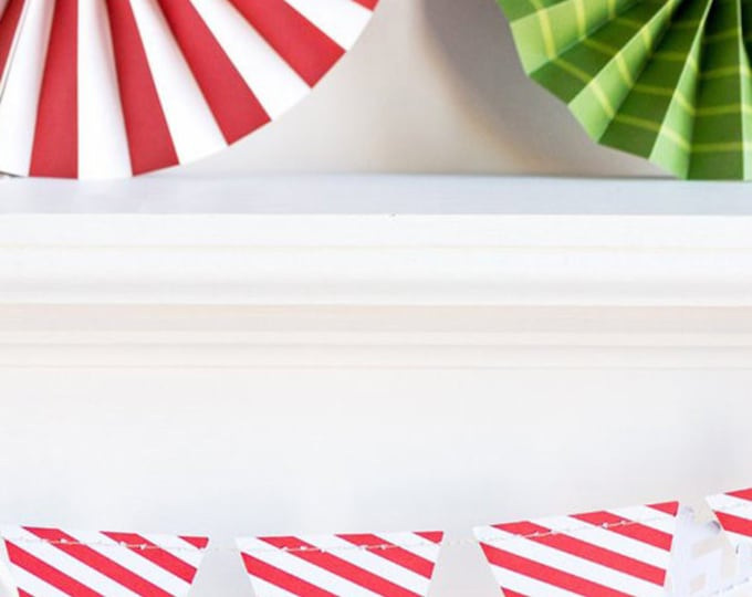 Striped Pennant Garland, Red and White Pennant Banner, Triangle Banner, Birthday Party Banner, Valentines Banner HYP405