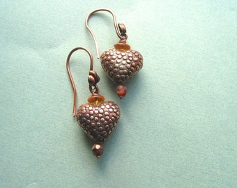 Copper Heart Earrings, Raised Dots, Textured, Valentine's Day, Love