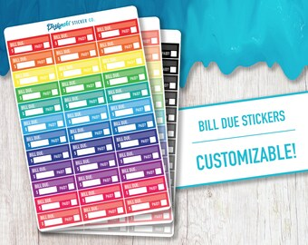 Bill Due Stickers | 36 Planner Stickers