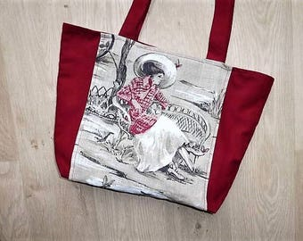 """""""Woman with hat on a bench"""" printed linen and Burgundy tote bag"""