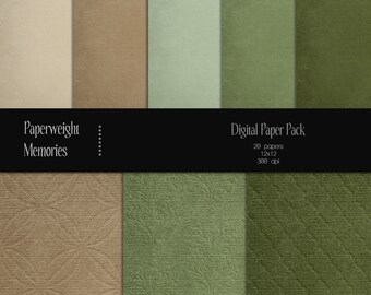 Dusty Forest - Instant download - Digital Papers - digital scrapbooking - brown and green patterned & textured paper - Commercial use