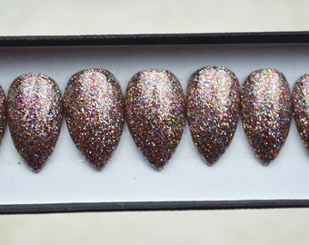 20 LUXURY PRESS ON, Multicoloured glittery press on nails, glue on, handpainted nails, stiletto nails