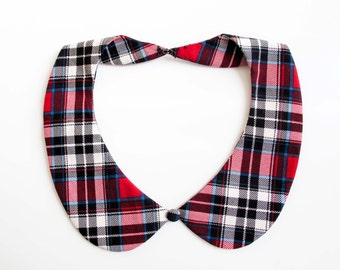 Detachable peter pan collar necklace, scottish plaid tartan