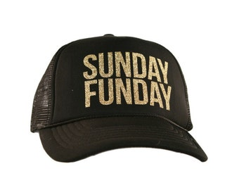 Sunday Funday Black Mesh Back Gold Glitter Hat #SundayFunday