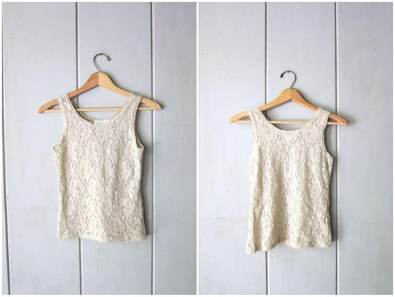 Minimal Lace Tank Top 90s Express Tricot Beige Slip Top Delicate Lace Sleeveless Blouse Cropped Stretch Nylon Tank Top Vintage Cami XS Small