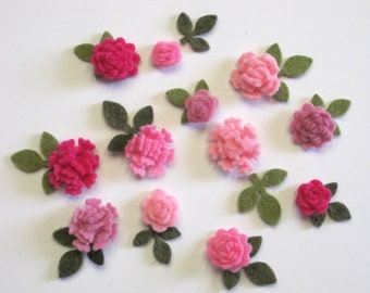 Tiny Felt Flowers and Leaves Tickled Pink Assortment