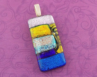 Colorful Dichroic Pendant, Blue, Golden Orange, Pink Dicro, Fused Glass Pendant, Handmade, Fused Glass Jewelry - Peyton -4769-4