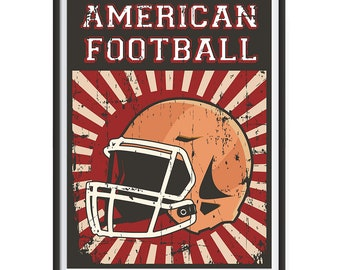 Retro Sports Series Football Posters - Poster Printing - Wall Art Print for Home Office Decor - HELMET RED