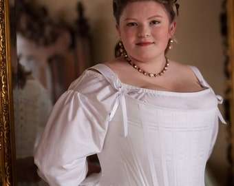 18th Century Stays in Plus Sizes, Historical Georgian Corset in White Cotton Sateen, Marie Antoinette Colonial 1700's - Ready to Ship Sizing