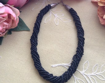 Vintage Black Seed Beads and Stainless Steel Choker Necklace, Elegant Necklace, Eclectic Necklace, Boho Style, Gift Idea