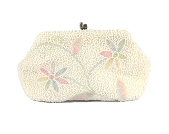 Jahrgang 1960 Blumen Perlen Handtasche / Richere / Pastell Ostern Braut Hochzeit / kleine Geldbörse / Vintage Geldbörse / Vintage Handtasche clutch