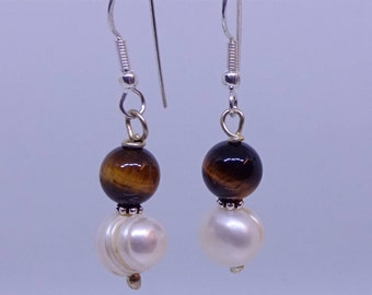 Tiger eye and pearl in sterling silver earrings